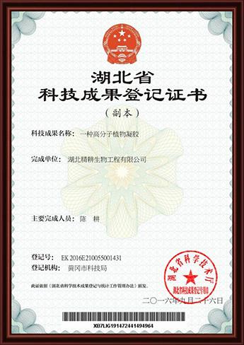 湖北精耕生物工程有限公司获得湖北省科技成果登记证书