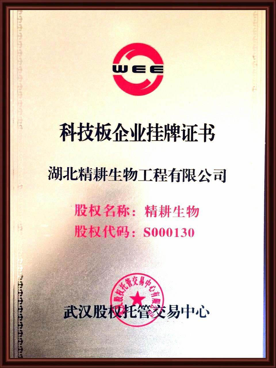 科技板企业挂牌证书